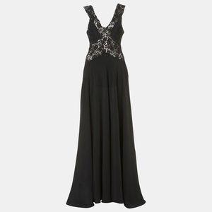 Topshop black crochet trim silk gown